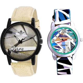 Love For Life And Multi Sky Blue Art Couple Analogue Watch By Harmi Exim
