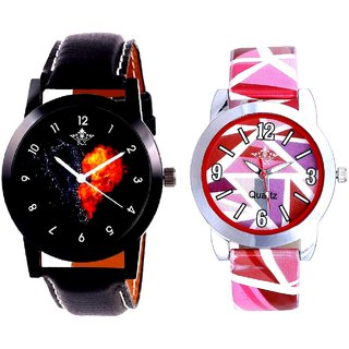 Burning Heart And Multi Pink Art Couple Analogue Watch By Harmi Exim