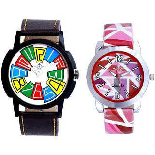 Attractive Multi Colour Dial And Multi Pink Art Couple Analogue Watch By Harmi Exim
