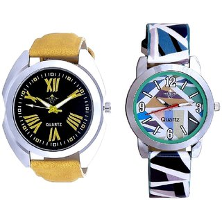 Sports Romen Digits And Multi Sky Blue Art Couple Analogue Watch By Harmi Exim