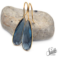 The Sparkle Story Beautiful Hydro Tanzanite Gold Plated 11x30mm Hook Earring