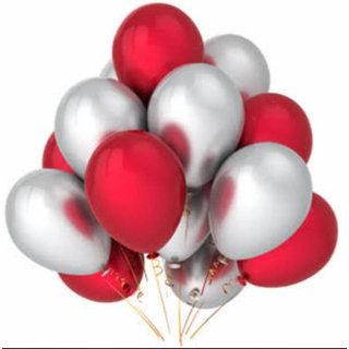 Red Silver Metallic Birthday Balloons Christmas New Year Wedding Celebration Extra Shine Party
