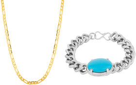 24 inch Gold Plated Brass Chain and Silver Turquoise Bracelet Combo for Men by Sparkling Jewellery