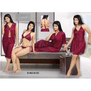 f6616e98d9a09 Hot Womens Sexy Sleep Wear 6p Sheer Bra Panty Open Top Capri Babydoll  Nighty Over Coat