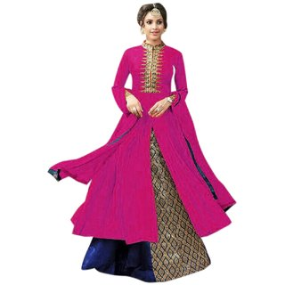 Aika Cotton Fabric Embroidery Indo Western Suit For Women ( PinkBlue )-S013-Kesari-Pink