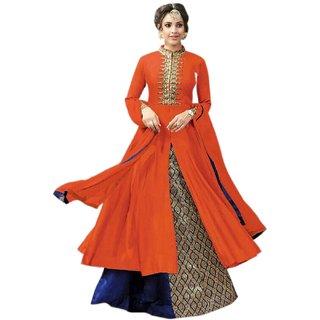 Aika Cotton Fabric Embroidery Indo Western Suit For Women ( OrangeBlue )-S013-Kesari-Orange