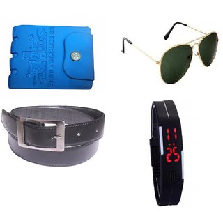 Combo Of Blue PU Wallet + Digital Multicolor Led Watch + Black Belt + Glasses (Synthetic leather/Rexine)