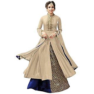 Aika Cotton Fabric Embroidery Indo Western Suit For Women ( CreamBlue )-S013-Kesari-Cream