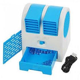 GAURAV MART Mini USB Cooling Fan Cooler Portable Desktop Dual Bladeless Air Conditioner USB Cooler (ASSORTED COLOURS)