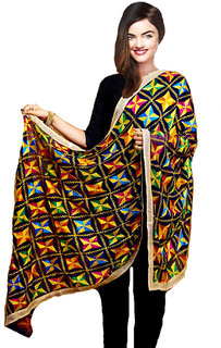 Weavers Villa Punjabi Hand Embroidery Phulkari Faux Chiffon Black Dupatta, Stoles