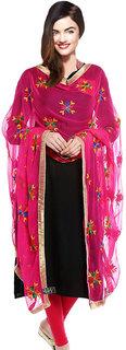 Weavers Villa Punjabi Hand Embroidery Phulkari Buty Work Faux Chiffon Pink Dupatta, Stoles