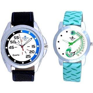 Blue-Black Chen With Green More Couple Analogue Wrist Watch By VB INTERNATIONAL