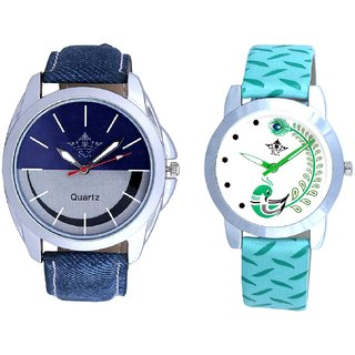 Silver-Blue Dial With Green More Couple Analogue Wrist Watch By VB INTERNATIONAL