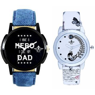 Always Hero Of My Life With White More Couple Analogue Wrist Watch By VB INTERNATIONAL