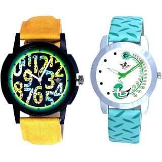 Yellow-Green Design With Green More Couple Analogue Wrist Watch By VB INTERNATIONAL