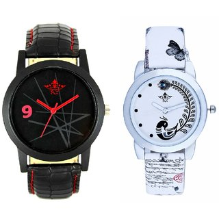 Star Black Dial With White More Couple Analogue Wrist Watch By VB INTERNATIONAL