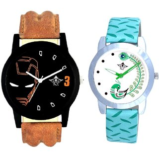 Brown Ironman With Green More Couple Analogue Wrist Watch By VB INTERNATIONAL