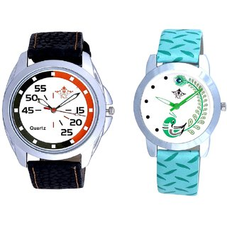 Orange-Black Chen With Green More Couple Analogue Wrist Watch By VB INTERNATIONAL