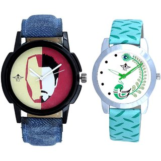 Half Man With Green More Couple Analogue Wrist Watch By VB INTERNATIONAL