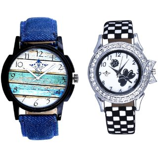 Multi Colour Art And Black-White Flowers Couple Analogue Watch By Fashion Gallery