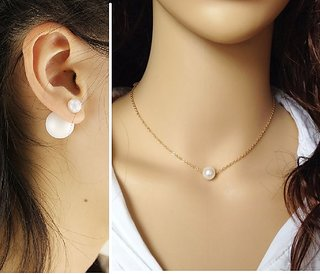 COMBO Simulated Pearl Double Ball Stud + Single Pearl Pendant Chain Necklace Set