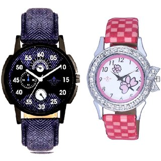 Blue Cronograph Pattern With Flowers Pink Art Couple Analoge Wrist Watch By VB INTERNATIONAL