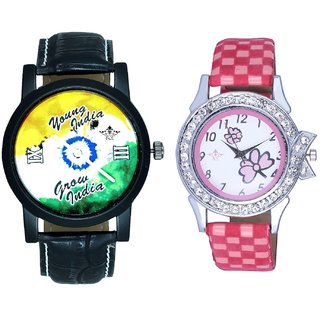 Black Dial Multi Dial With Flowers Pink Art Couple Analoge Wrist Watch By VB INTERNATIONAL