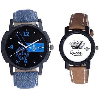 Blue -Black Art With Taj Art Dial Couple Analoge Wrist Watch By VB INTERNATIONAL
