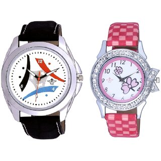 White Dial Tri Fan With Flowers Pink Art Couple Analoge Wrist Watch By VB INTERNATIONAL