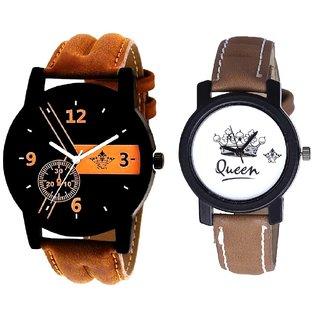 Brown -Black Designe With Taj Art Dial Couple Analoge Wrist Watch By VB INTERNATIONAL