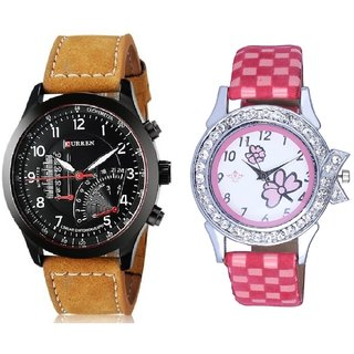 Curren Brown Leather Strap With Flowers Pink Art Couple Analoge Wrist Watch By VB INTERNATIONAL