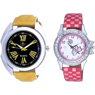 Latest Digit With Flowers Pink Art Couple Analoge Wrist Watch By VB INTERNATIONAL