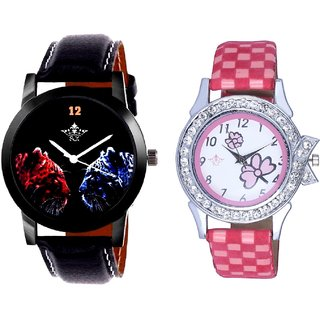 Jaguar Face Dial With Flowers Pink Art Couple Analoge Wrist Watch By VB INTERNATIONAL