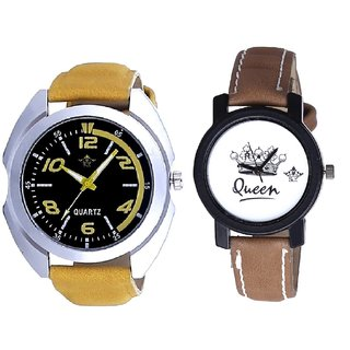 Yellow Sports Strap With Taj Art Dial Couple Analoge Wrist Watch By VB INTERNATIONAL