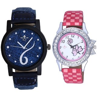 Blue Lather Design With Flowers Pink Art Couple Analoge Wrist Watch By VB INTERNATIONAL