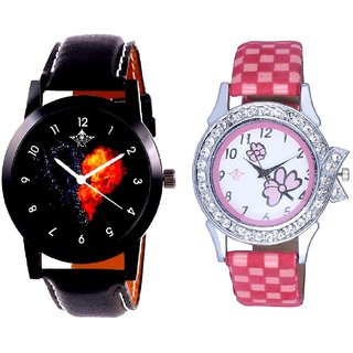 Heart Black Dial With Flowers Pink Art Couple Analoge Wrist Watch By VB INTERNATIONAL