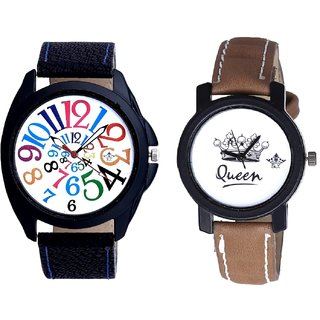 Stylish Multi Colour Digits And Queen Dial Couple Analogue Watch By Fashion Gallery