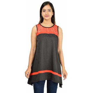 Timbre Black Plain Round Neck Asymmetrical TopsFor Women'S