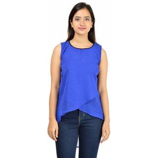 Timbre Blue Plain Round Neck Wrap TopsFor Women'S