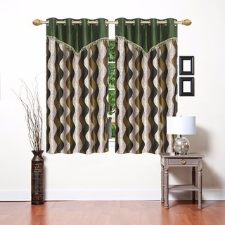 Costa Home Polyester Multicolour Floral Designer Window Curtain Set Of 2