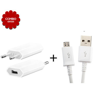 Combo of USB Wall Charger V8 Micro USB Data Cable - Assorted Color