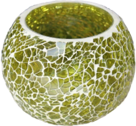 Yallow glass candle holder