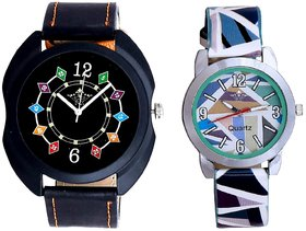 3D Chain With Sky Blue Sep Couple Analogue Wrist Watch