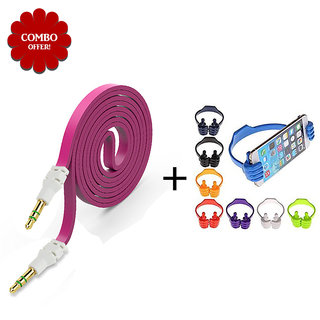 Combo of Flat Aux Cable Ok Stand - Assorted Color
