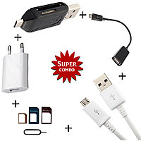 Wall Charger + Smart OTG + OTG Cable + V8 Micro USB Data Cable + 3 in 1 SIM Ejector