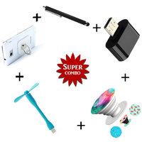 Mobile Ring Holder USB Fan PopSocket Mini OTG Mini Touch Screen Stylus Pen - Assorted Color
