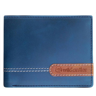 Wildantler Men Blue Multicolor Artifical Leather Wallet (6 Card Slots)