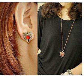 Combo Set Of Angel Wings Red Gem Heart Pendant + Stud EarringsVintage Bronze