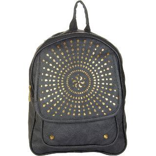 JG Shoppe Black PU Backpack