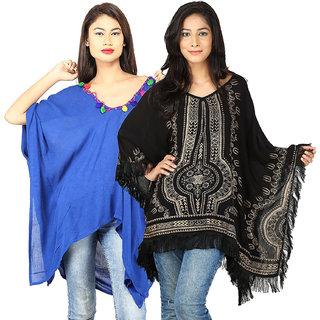 Secret Bazaar Women's Feminine Rayon Kaftan(Pack of 2 Kaftans)